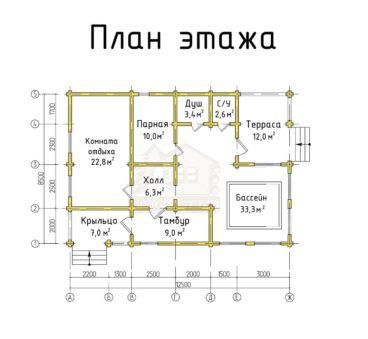 План этажа проекта бани ТБ-67