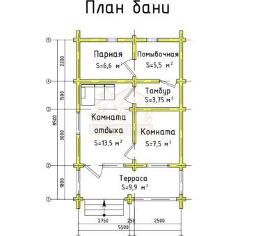 План этажа проекта бани ТБ-30