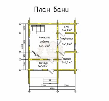План этажа проекта бани ТБ-71