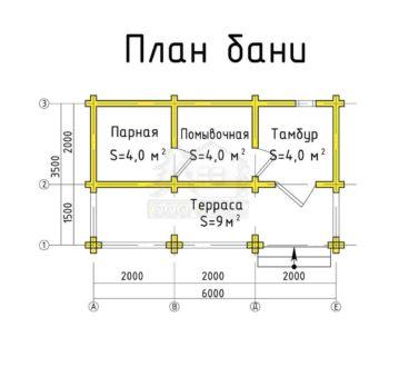 План этажа проекта бани ТБ-26