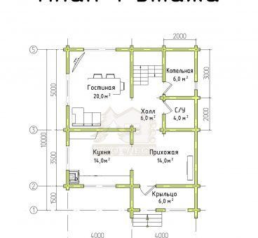 План 2 этажа проекта дома из бруса ТД-83