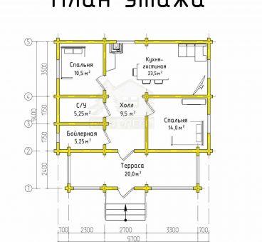 План этажа проекта дома из бруса ТД-185