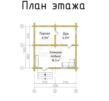План этажа проекта бани ТБ-68