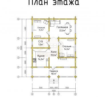 План этажа проекта дома из бруса ТД-74