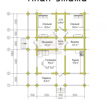 План этажа проекта дома из бруса ТД-179