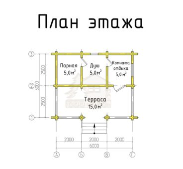 План этажа проекта бани ТБ-69