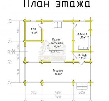 План этажа проекта дома из бруса ТД-152