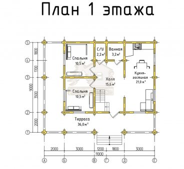 План 1 этажа проекта дома из бруса ТД-188