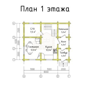 План 1 этажа проекта дома из бруса ТД-193