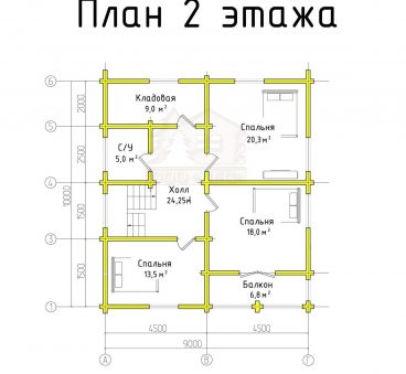 План 2 этажа проекта дома из бруса ТД-174