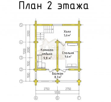 План 2 этажа проекта бани ТБ-9
