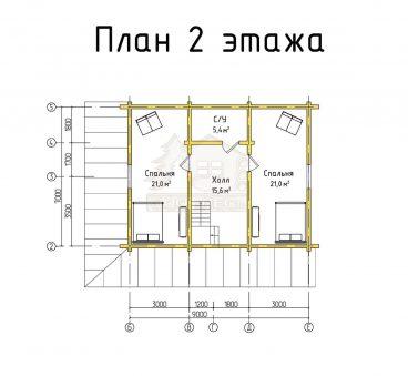 План 2 этажа проекта дома из бруса ТД-188