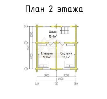 План 2 этажа проекта дома из бруса ТД-193