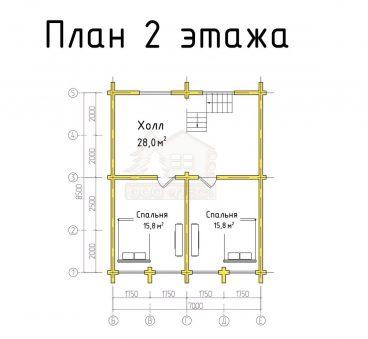 План 2 этажа проекта из бруса ТД-187
