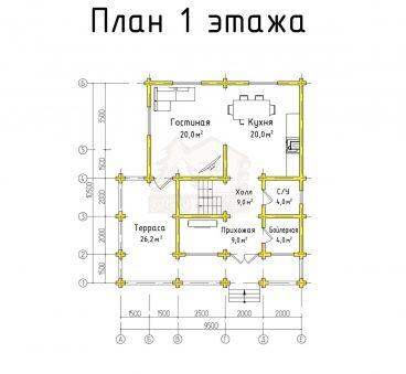 План 1 этажа проекта дома из бруса ТД-8