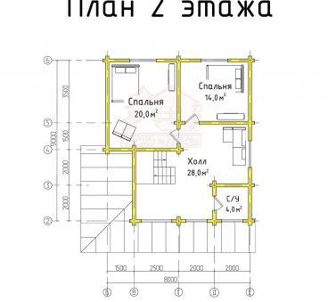 План 2 этажа проекта дома из бруса ТД-8