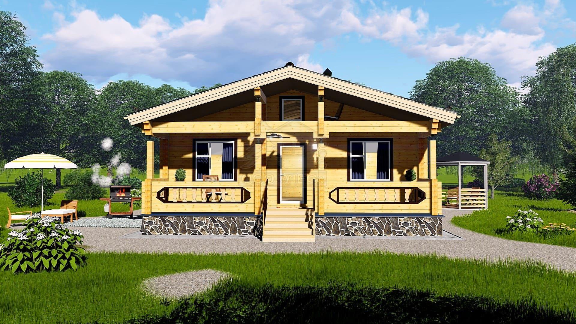 Проект дома из бруса ТД-74